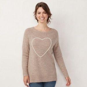 LC Lauren Conrad Womens Petite Heart Sweater NWOT